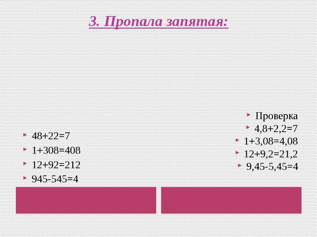 3. Пропала запятая: 48+22=7 1+308=408 12+92=212 945-545=4 Проверка 4,8+2,2=7...