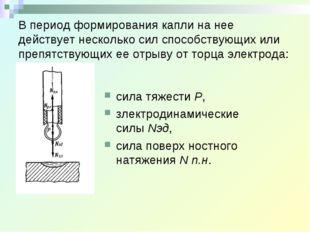 В период формирования капли на нее действует несколько сил способствующих или