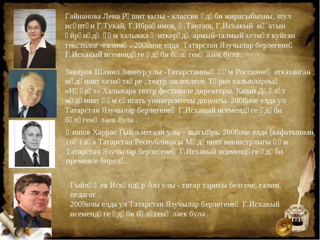 Гайнанова Лена Рәшит кызы - классик әдәби мирасыбызны, шул исәптән Г.Тукай, Г...