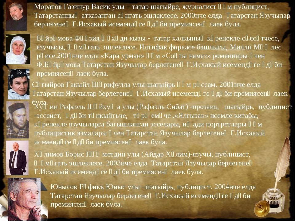 Юнысов Рәфикъ Юныс улы –шагыйрь, публицист. 2004нче елда Татарстан Язучылар б...