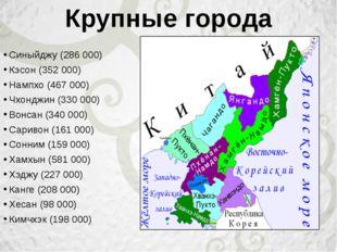 Синыйджу(286 000) Кэсон(352 000) Нампхо(467 000) Чхонджин(330 000) Вонсан