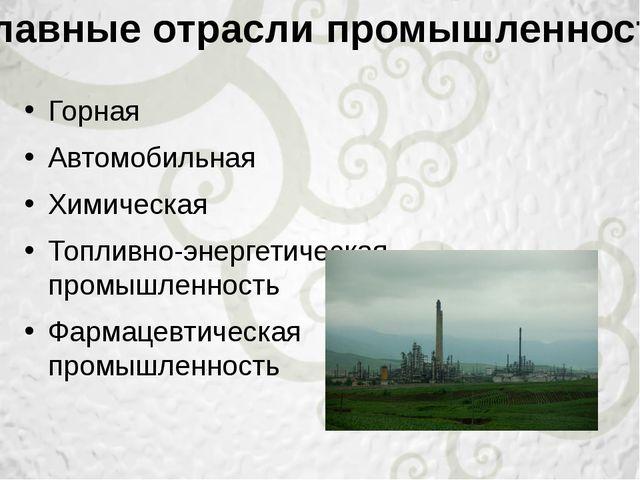 Горная Автомобильная Химическая Топливно-энергетическая промышленность Фармац...