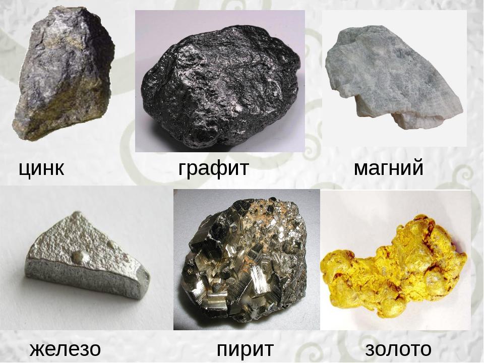 цинк графит магний железо золото пирит