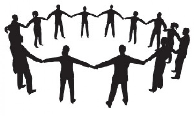 Hand In Hand Circle Surrounded By People Silhouette Material Graphic Hive