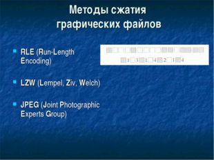 Методы сжатия графических файлов RLE (Run-Length Encoding) LZW (Lempel, Ziv,