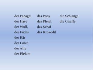 derPapagei das Pony die Schlange der Hase dasPferd, die Giraffe, der Wolf, da