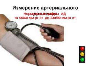 Измерение артериального давления Нормальные цифры АД от 90/60 мм рт ст до 130