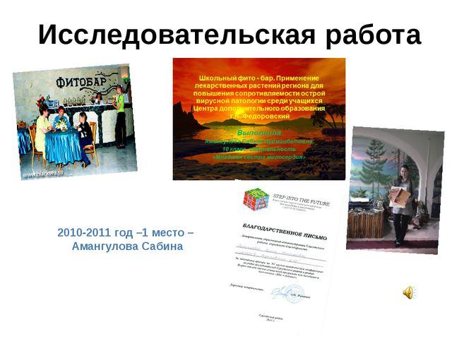 2010-2011 год –1 место – Амангулова Сабина Исследовательская работа
