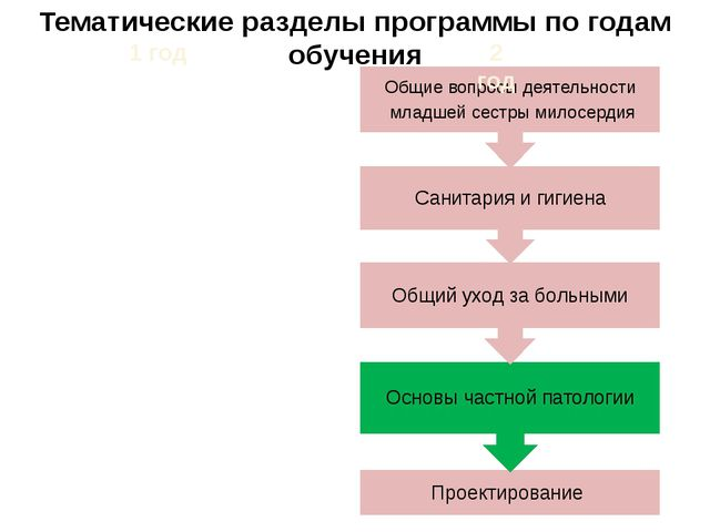 Тематические разделы программы по годам обучения 1 год 2 год