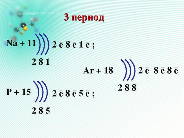 3 период Na + 11 P + 15 Ar + 18 2 8 1 2 8 5 2 8 8 2 ē 8 ē 1 ē ; 2 ē 8 ē 5 ē ;...