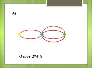 А) Ответ:2*4=8