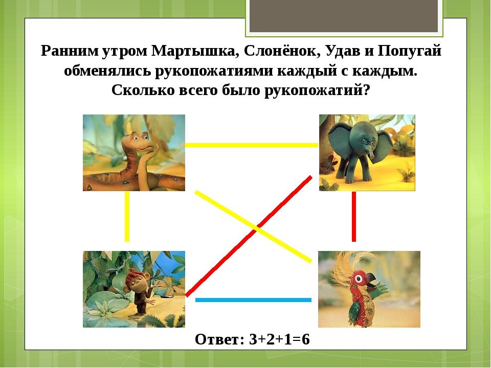 Ранним утром Мартышка, Слонёнок, Удав и Попугай обменялись рукопожатиями кажд...