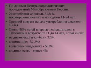 По данным Центра социологических исследований Минобразования России: Употребл