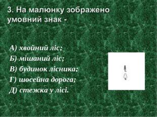 А) хвойний ліс; Б) мішаний ліс; В) будинок лісника; Г) шосейна дорога; Д) сте