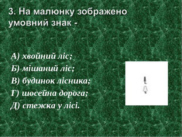 А) хвойний ліс; Б) мішаний ліс; В) будинок лісника; Г) шосейна дорога; Д) сте...