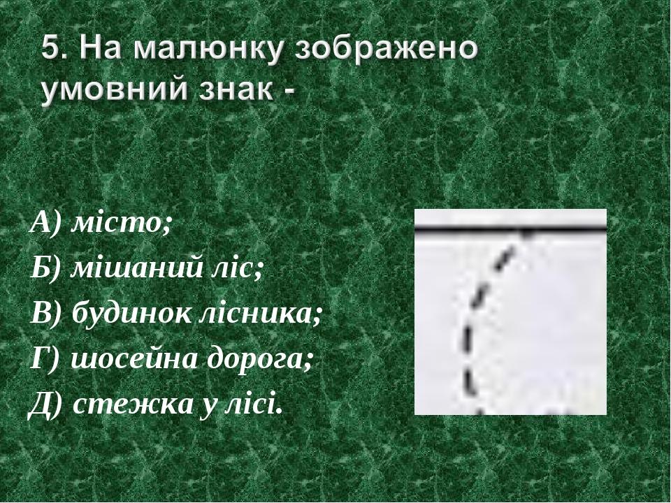 А) місто; Б) мішаний ліс; В) будинок лісника; Г) шосейна дорога; Д) стежка у...