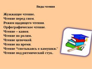 Виды чтения Жужжащее чтение. Чтение перед сном. Режим щадящего чтения. Орфогр