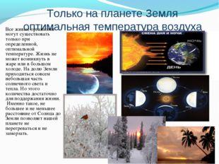 Только на планете Земля оптимальная температура воздуха Все живые организмы м