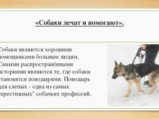 «Собаки лечат и помогают». Собаки являются хорошими помощниками больным людям