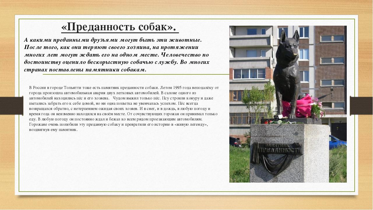 «Преданность собак». В России в городе Тольятти тоже есть памятник преданност...