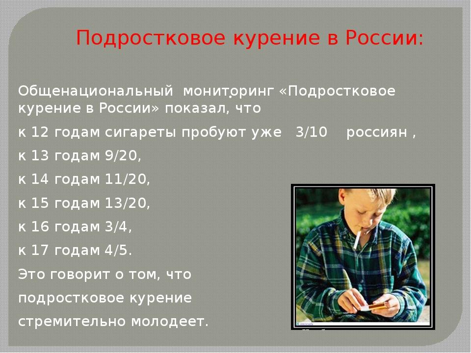 Подростковое курение в России: Общенациональный мониторинг «Подростковое куре...