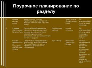 Поурочное планирование по разделу 5Первые русские князьяХарактеристика сист