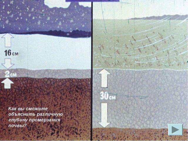Как вы сможите объяснить различную глубину промерзания почвы?