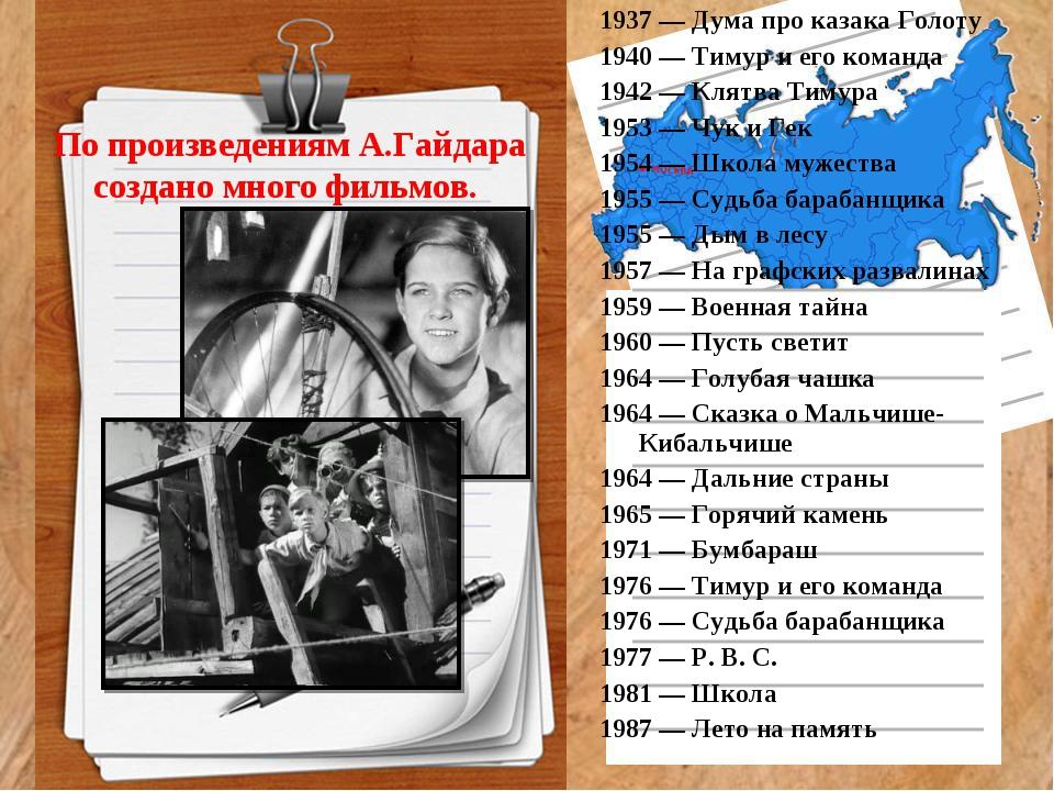 По произведениям А.Гайдара создано много фильмов. 1937 — Дума про казака Гол...