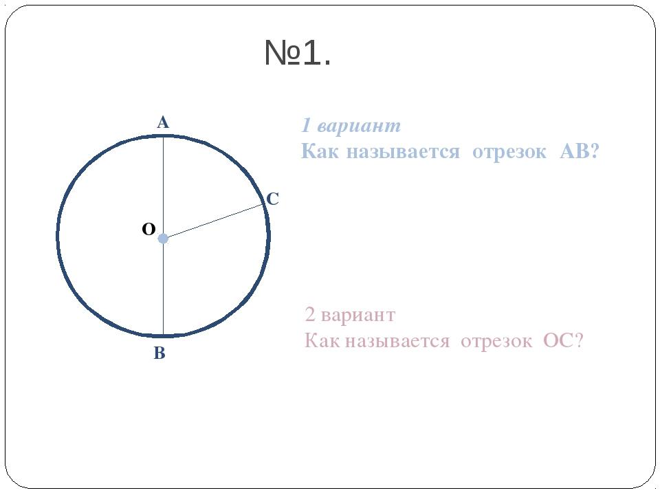 А В С 1 вариант Как называется отрезок АВ? 2 вариант Как называется отрезок О...