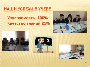 Успеваемость 100% Качество знаний 21%