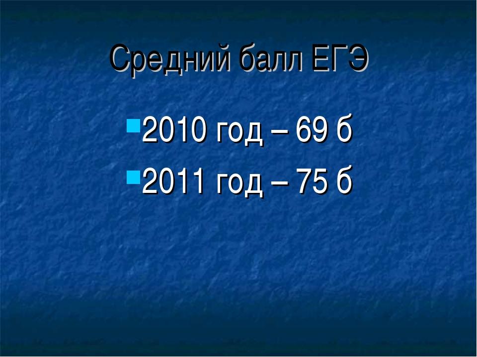 Средний балл ЕГЭ 2010 год – 69 б 2011 год – 75 б