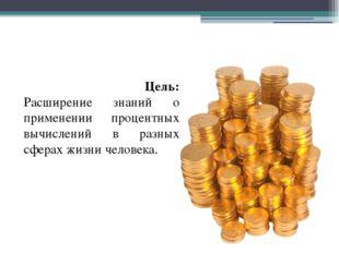 Цель: Расширение знаний о применении процентных вычислений в разных сферах ж