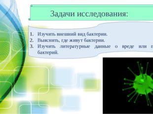 Задачи исследования: Изучить внешний вид бактерии. Выяснить, где живут бактер