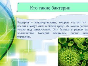 Кто такие бактерии Бактерии – микроорганизмы, которые состоят из одной клетки