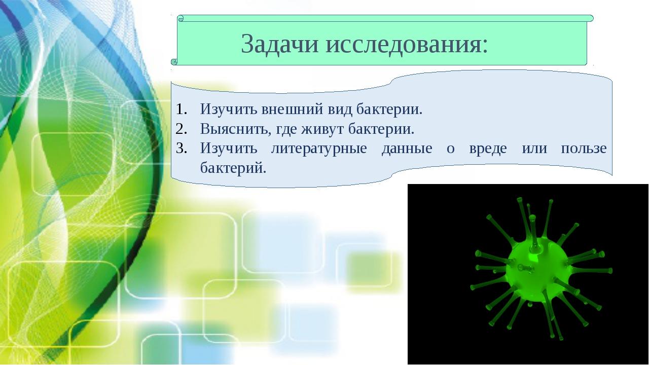Задачи исследования: Изучить внешний вид бактерии. Выяснить, где живут бактер...