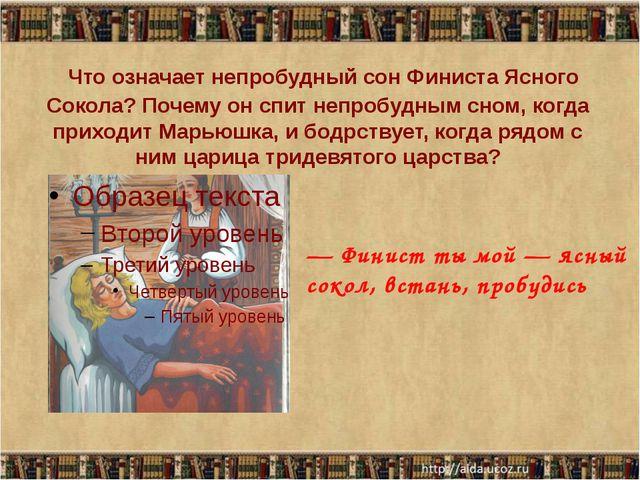 Что означает непробудный сон Финиста Ясного Сокола? Почему он спит непробудны...