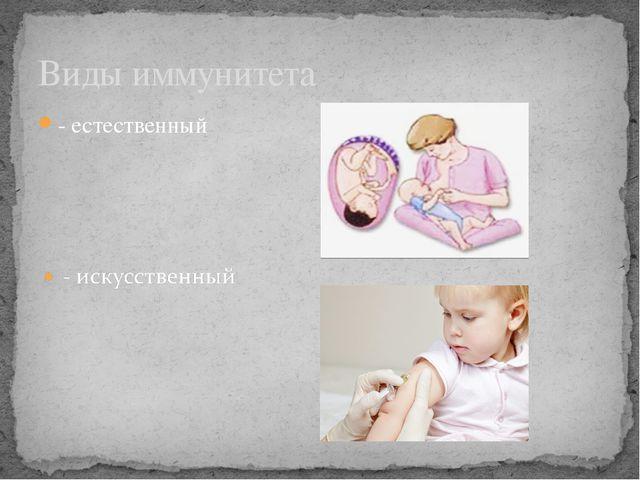 - естественный Виды иммунитета