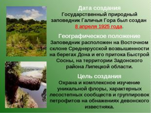 Дата создания Государственный природный заповедник Галичья Гора был создан 8