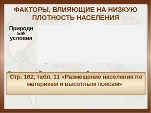 ФАКТОРЫ, ВЛИЯЮЩИЕ НА НИЗКУЮ ПЛОТНОСТЬ НАСЕЛЕНИЯ Стр. 102, табл. 11 «Размещени