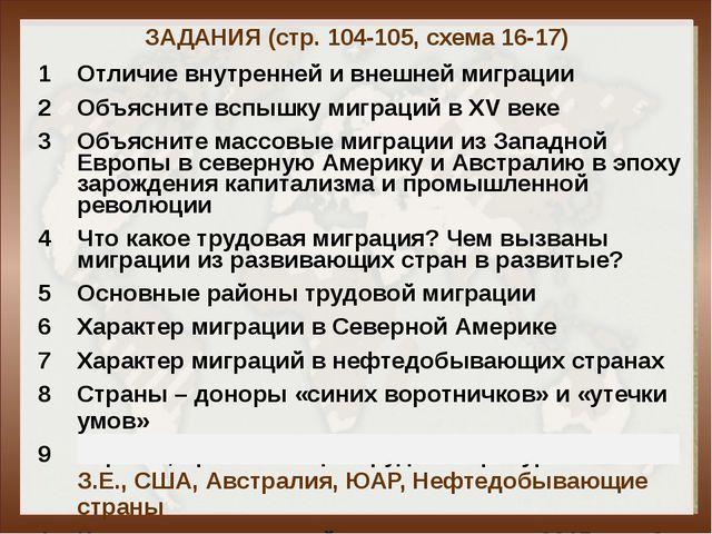 ЗАДАНИЯ (стр. 104-105, схема 16-17) 1 Отличие внутренней и внешней миграции 2...