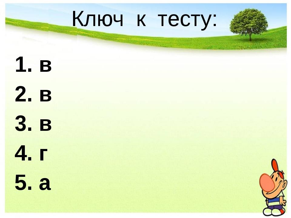 Ключ к тесту: 1. в 2. в 3. в 4. г 5. а