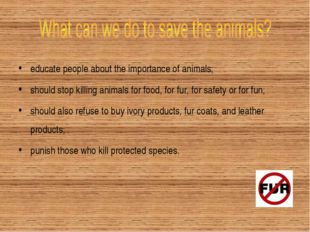educate people about the importance of animals; should stop killing animals f