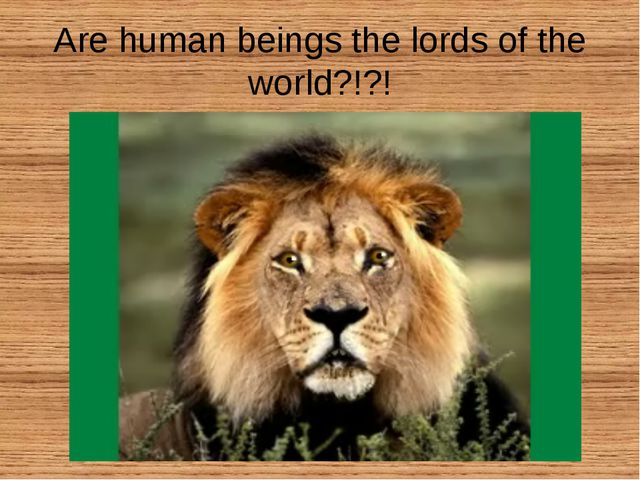 Are human beings the lords of the world?!?!