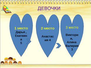 1 место Дарья , Екатеина 5 2 место Анастасия 4 3 место Виктория, Алина Валер