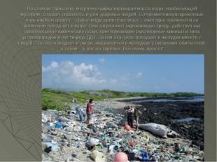 По словам Эриксена, медленно циркулирующая масса воды, изобилующей мусором, с