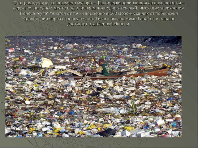 Эта громадная куча плавучего мусора – фактически величайшая свалка планеты –...