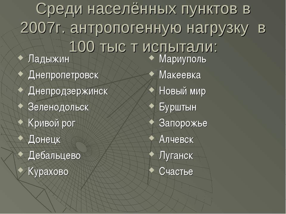 Среди населённых пунктов в 2007г. антропогенную нагрузку в 100 тыс т испытали...