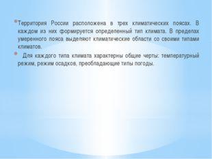 Территория России расположена в трех климатических поясах. В каждом из них фо