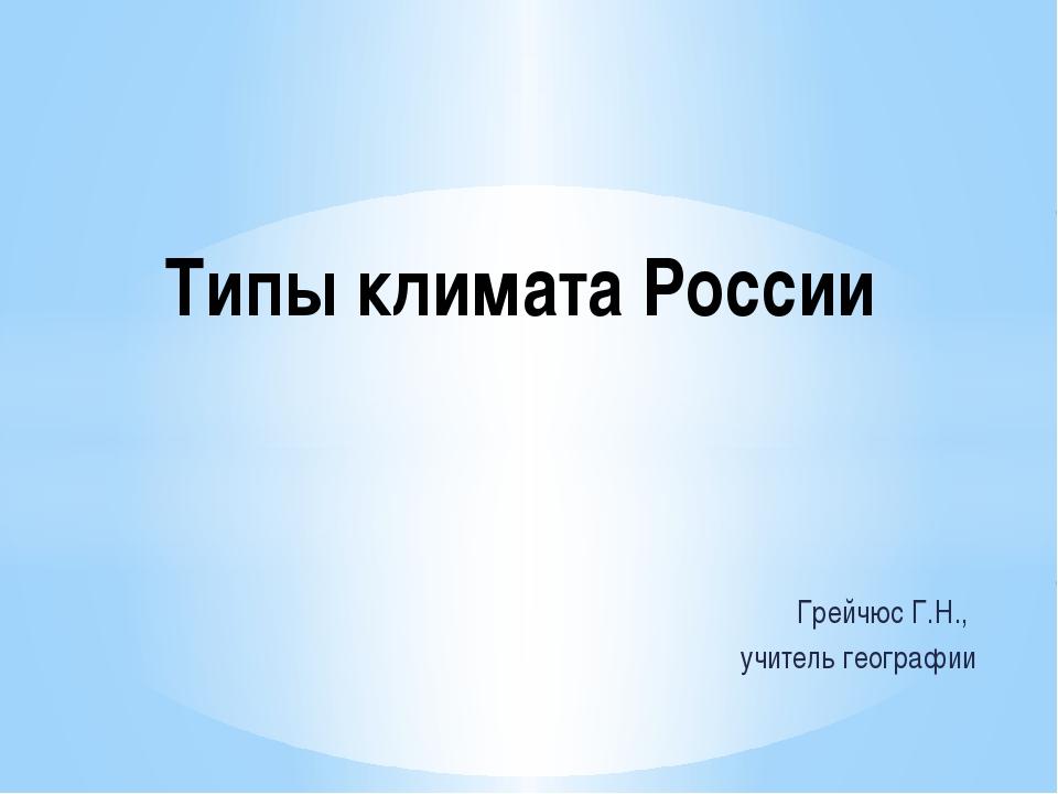Грейчюс Г.Н., учитель географии Типы климата России