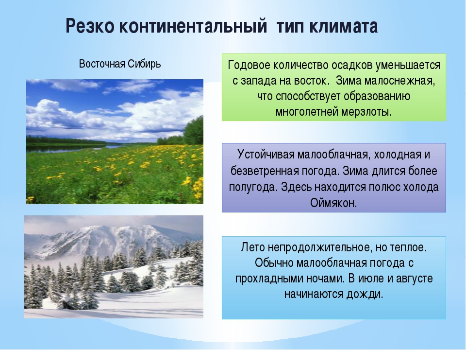 Резко континентальный тип климата Устойчивая малооблачная, холодная и безветр...